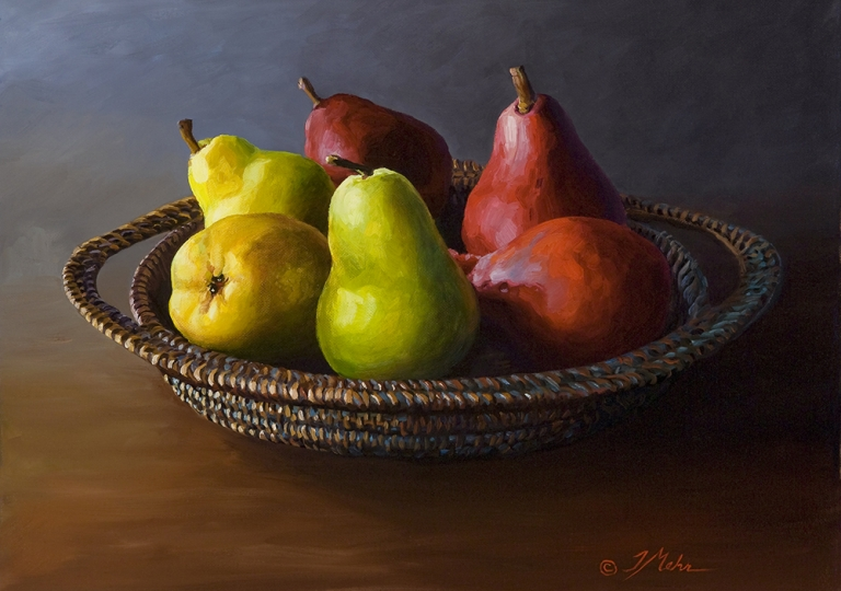 Woven Basket with Pears